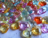 Faceted Hearts Colorful  Bead Charms