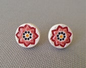 starflower post earrings, ruby and black ... porcelain jewelry by Sofia Masri
