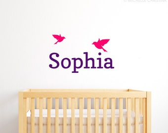 Child's Name with Birds Wall Decal - Modern Birds Wall Decal - Personalized Wall Decal - Name Wall Decal - ND7