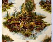 Wildlife Pillow Panel for Custom Pillow - Animals - Deer - Green Brown - Nature Pillow Panel