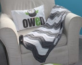 Gray and White Chevron Baby Blanket