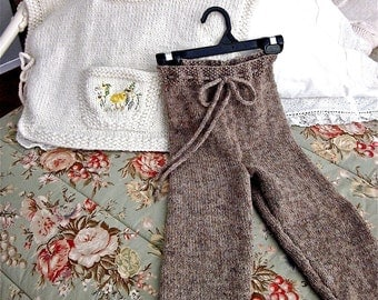 Girls Hooded Poncho and Pants, Size 4/5 / Hand Knit and Embroidered,/. Pocketful of Posies- and 1 Chick