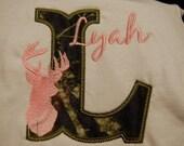 Hunting Camo Deer Initial Monogrammed Custom Embroidered TShirt Bodysuit