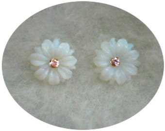 3mm Pink Cubic Zirconias in 10k Yellow Gold Stud Earrings with Opalite Flower Earring Jackets