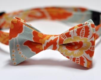 Boys Bow Tie Orange and Aqua Floral