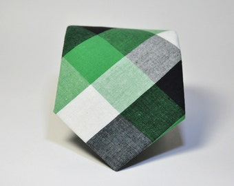 Green and Black Men's Necktie