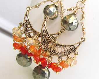 Dancing Fire Earrings - Vermeil, Mexican Fire Opal and Pyrite