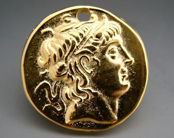 Naos - Alexander The Great - Mykonos Greek Pendant - Pure 24K Gold over Lead Free Pewter - 28mm