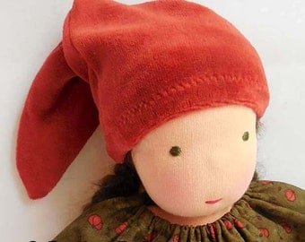 Rust Red Pointy Doll Hat for 10 - 12 inch waldorf doll - elf hat