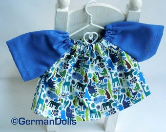 Waldorf doll clothes, doll shirt, doll top, 10-12 inch, doll clothes, zoo shirt blue, stockingstuffer toy, for children