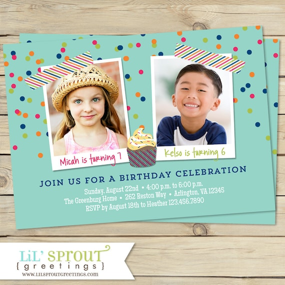 Combined Birthday Party Invitations Boy or Girl Options Cupcake