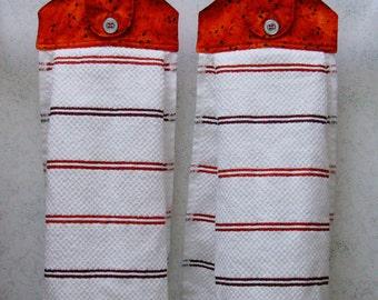 Hanging Cloth Top Kitchen Hand Towels - Red Leaf Print Larger Red Stripe Towels - Set of 2