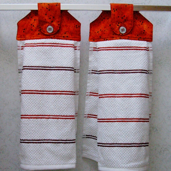 Red Kitchen Hand Towels: Hanging Cloth Top Kitchen Hand Towels Red By