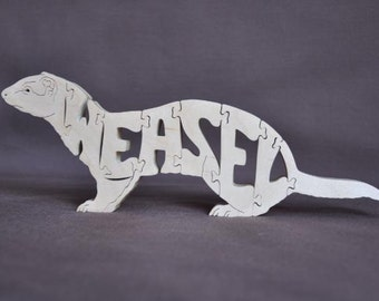 Weasel Ermine Stoat Animal Puzzle Wooden Toy Hand  Cut with Scroll Saw