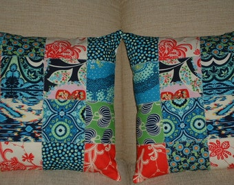 Set of Two Patchwork 14 inch Amy Butler Lark Dreamer Pillow Covers