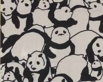 Tenugui Japanese Fabric 'Pile of Pandas' w/Free Insured Shipping