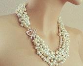 "Wedding Necklace Pearl, Bridal Statement Necklace, Pearl Necklace Chunky, Bridal Necklace Pearl Jewelry, 20"" Necklace, Silver Heart, DOREN"