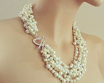 "Bridal Necklace Pearl Wedding Jewelry Pearl Statement Necklace Wedding Necklace Bridal Jewelry 20"" Silver Heart Chunky for Brides DOREN"
