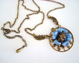 Steampunk Necklace, Time For Spring, Dragonfly, Jewel, Flowers, Wings Of Time, Exclusive Floral Patina, Hand Rubbed Vintage Brass Ox, USA