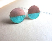 Patina and Copper Circle Stud Earrings