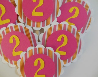 2nd  Birthday Cupcake Toppers - Pink and Yellow - Girl Birthday Party Decorations - Set of 6