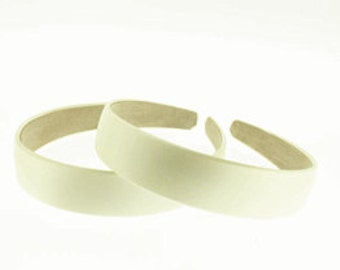 "2 pieces-25mm (1"") Satin Covered Headband in Ivory"