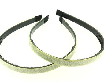 "2 pieces - 10mm (3/8"") Glitter Lined Headband with Teeth in Ivory - Hair Accessories"