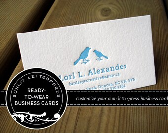 Custom Letterpress Business Cards - 100 Pre-Designed