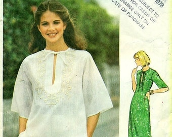 Butterick 5310 - Lounging Dress and Embroidered Top circa 1978