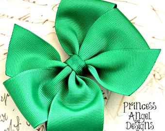 "Green Hairbow - Basic Bow - Pinwheel Bow - Large 4"" Hair Bow"