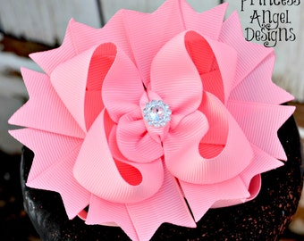 Solid ColorStacked Bow - Boutique Hair Bow - Basic Layered Hair Bow