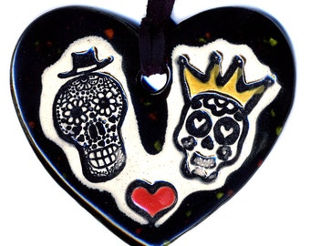 Day of the Dead Till Death Do Us Part Heart Necklace in Speckled Black
