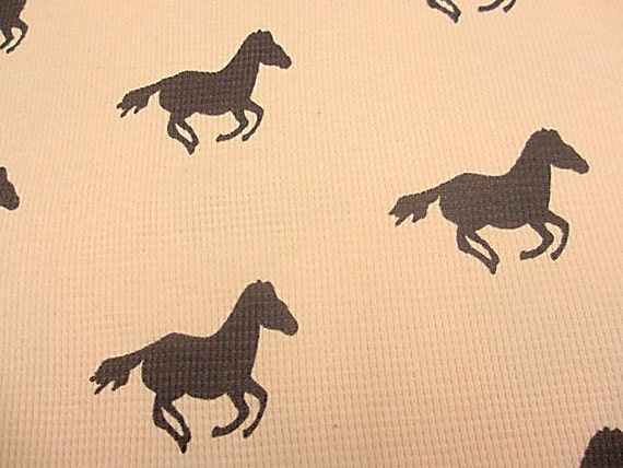 HORSES brown on a creamy YELLOW background waffle cotton knit fabric 1 yd