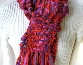 Hand Knit Chunky Wool Scarf for Women- Extra Long Warm Cozy Funky Fringe -Orange and Purple Scarf Holiday Fashion Winter Scarf
