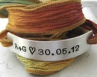 Personalized Anniversary Bracelet, Anniversary Date Bracelet, autumn colors, silk ribbon wrap, aluminum or copper bar, 30 character max