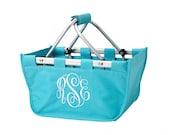 Personalized Aqua MINI Market Tote, Pool Bag,Camp Bag,Sports Bag, Teachers Bag, Traveling, Toy Bag and bridal party gift, bridesmaids gift