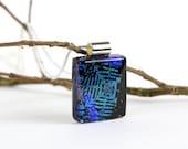 Cobalt Blue - Blue Dichroic Pendant - Fused Glass Pendant - Dichroic Necklace-  Dichroic Necklace - Dichroic Jewelry - Cobalt Blue Pendant-