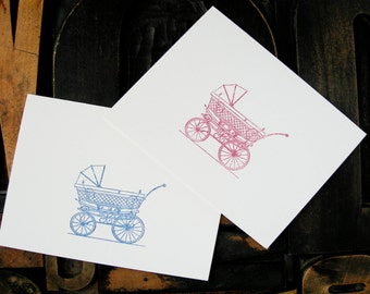 Set of Six Baby Carriage Note Cards - Gocco Printed