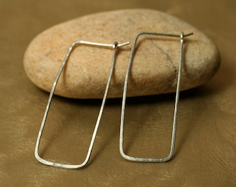 Handmade hammered silver tone rectangle hoop, one pair (item ID ST12G20)