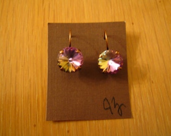 Antique Copper 12mm Pink Swarovski Crystal Earrings