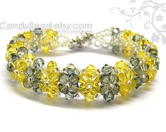 SALE - Swarovski Bracelet, Luxurious Light Yellow and Black Swarovski Crystal Bracelet by CandyBead