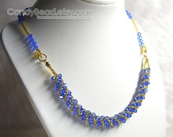 Swarovski Crystal Necklace, Sweet Sapphire and Gold Twisty Swarovski Crystals Necklace by CandyBead
