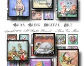 Vintage Christmas inchies... INSTANT DOWNLOADS, digital collage sheets for glass tiles and resin pendants