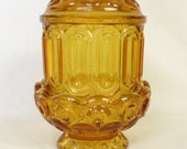 L E smith Moon and star candleholder in amber glass fairy lamp candleholder