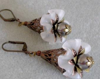 Antique Copper White Lucite Ruffled Flower Bouquet Pearl Dangle Earrings