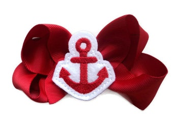 Hair Bows for Girls EVERYDAY Funky HAIR BOW - red Anchor on Red Bow (perfect for newborn, infant, toddler, girl) - Medium hairbow hair bow