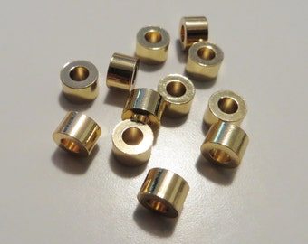 4 mm Gold Metal Cylindrical Tube Beads - 12 pieces