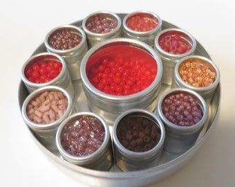 Glass Bead Mix: Reds/Purples - with Aluminum Box Set