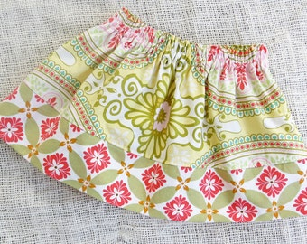 Size 6-12mo - ENGLISH GARDEN Simple Skirt- Boutique Girls Skirt - ooak