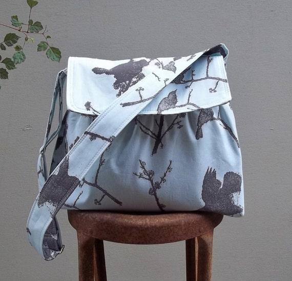 Black Birds on Sky Blue Gathered Messenger Bag - - 3 pockets - - Key Fob